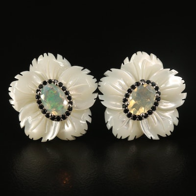 Sterling Opal, Mother of Pearl and Spinel Flower Stud Earrings