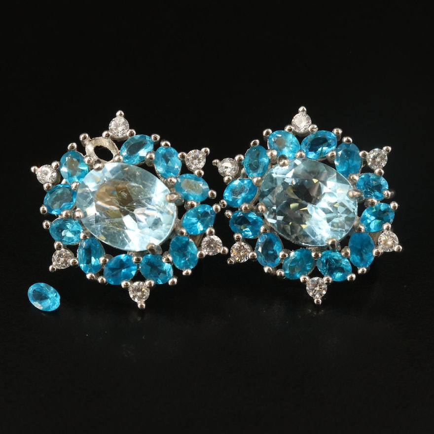 Sterling Topaz, Apatite and Cubic Zirconia Earrings