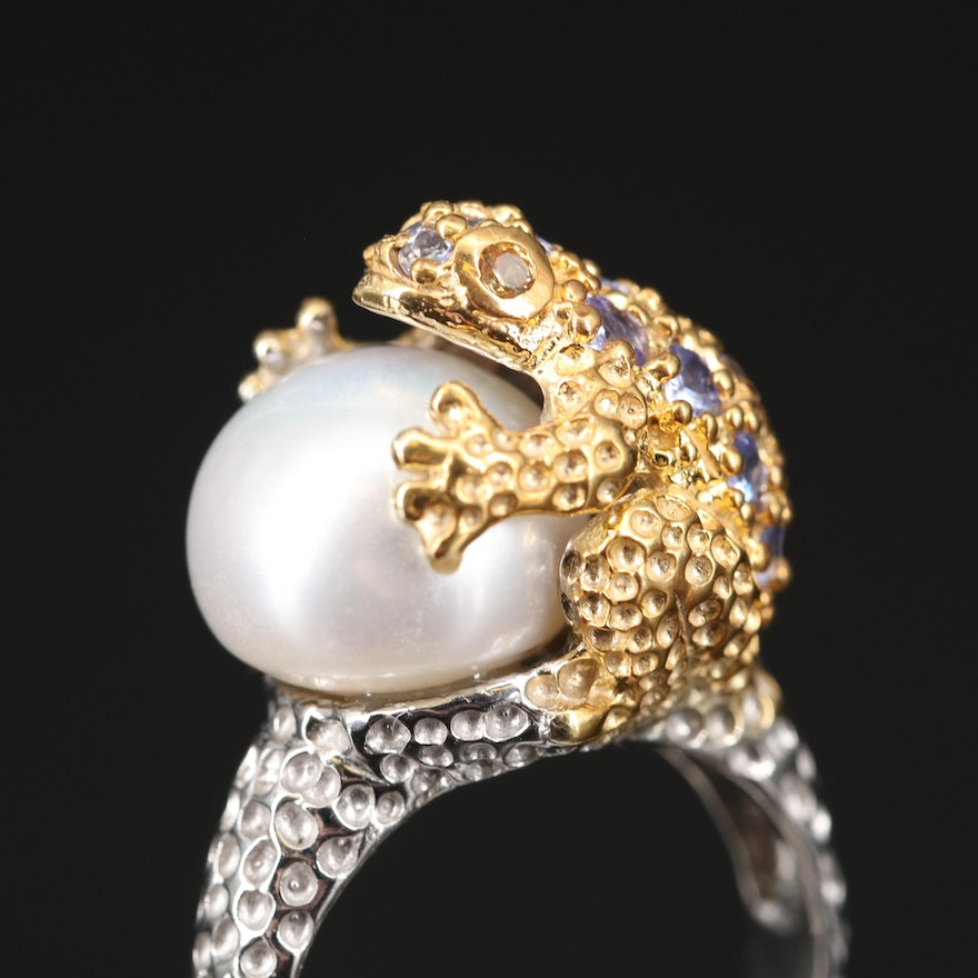 Sterling Silver Pearl, Sapphire and Tanzanite Frog Ring