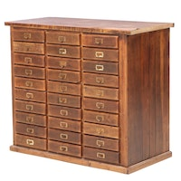 Oak Thirty-Drawer Flat File Cabinet