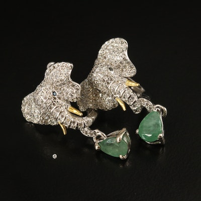 Sterling Elephant Earrings with Beryl, Spinel and Cubic Zirconia
