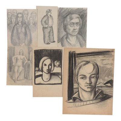 Florence Smithburn Charcoal and Graphite Portrait Drawings, Mid-20th Century