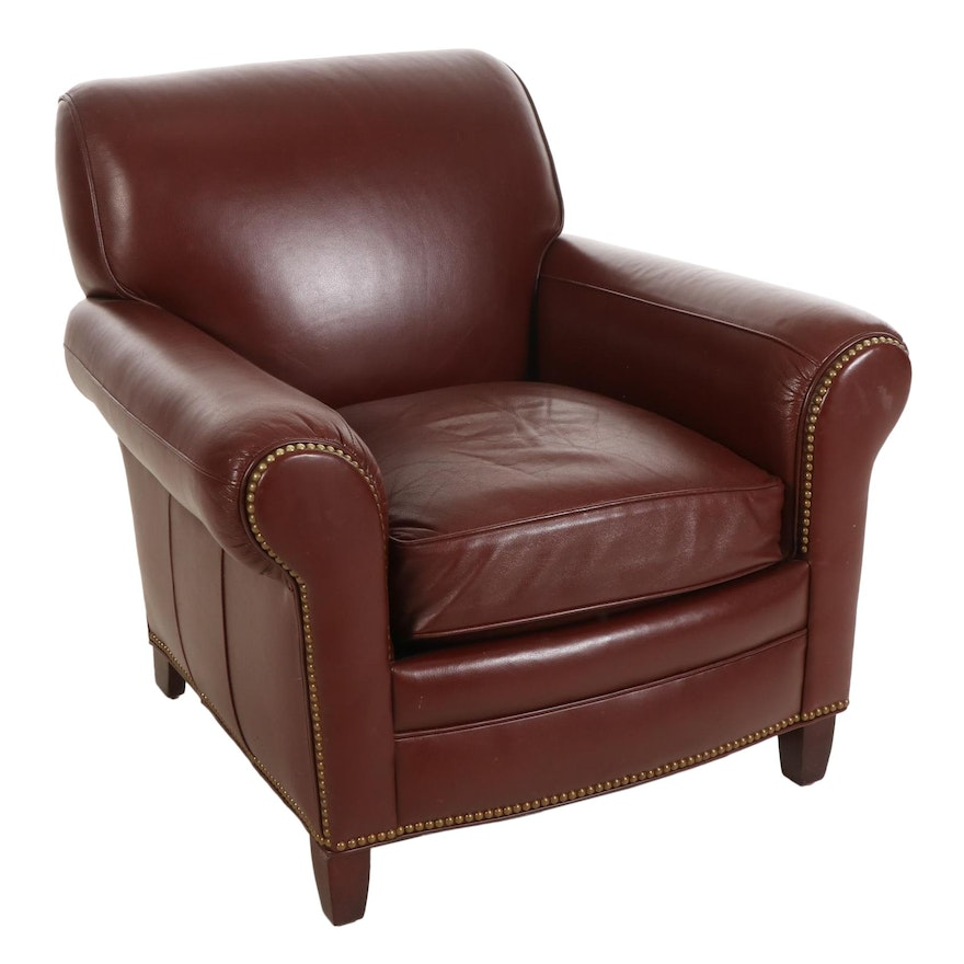 Hancock & Moore Leather Armchair with Brass Nailhead Trim
