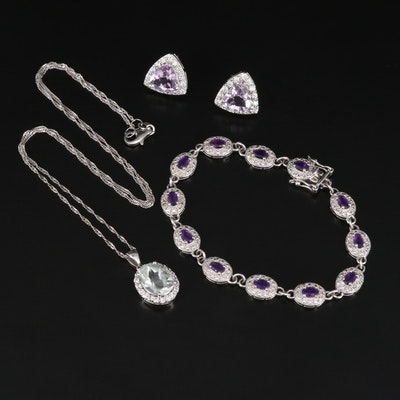 Sterling Silver Gemstone Necklace and Stud Earrings with Link Bracelet