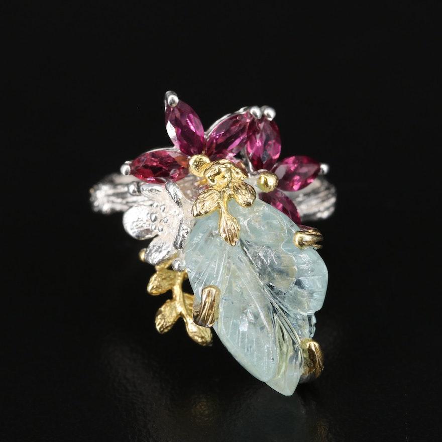 Sterling Aquamarine and Rhodolite Garnet Floral Ring