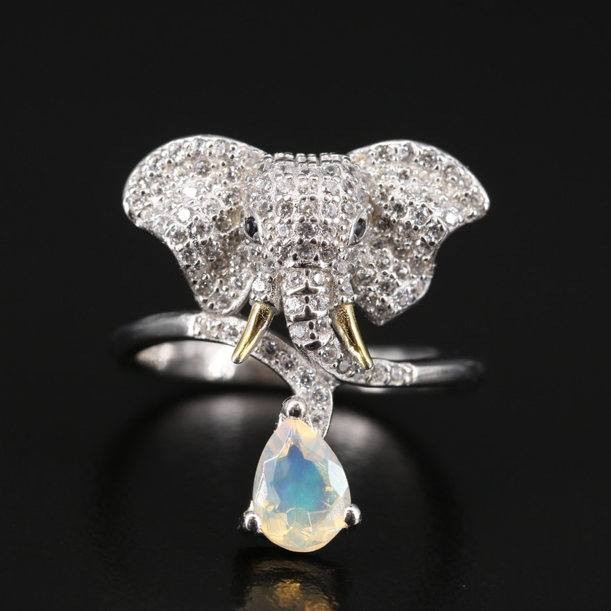 Sterling Silver Opal and Pavé Cubic Zirconia Elephant Ring