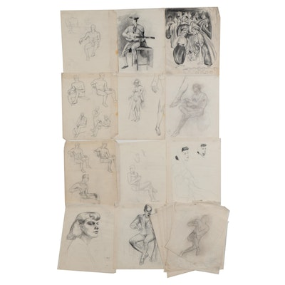 Florence Smithburn Charcoal and Graphite Drawings, Mid-20th Century