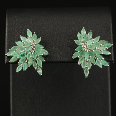Sterling Beryl Cluster Earrings