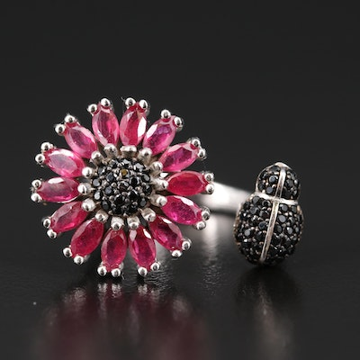 Sterling Silver Corundum and Spinel Flower and Insect Ring
