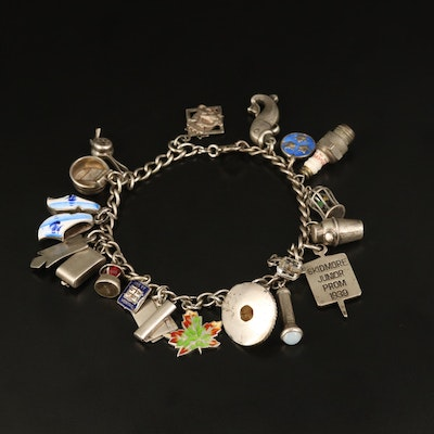 Vintage Sterling Charm Bracelet with Maple Leaf and Fish Charms