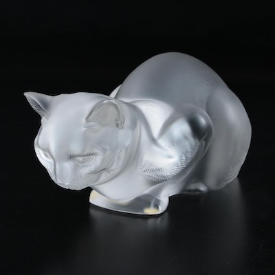 "Lalique ""Crouching Cat"" Frosted Crystal Figurine"