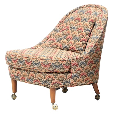 Barrel Back Upholstered Side Chair on Casters, Mid-20th Century