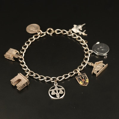 Sterling Charm Bracelet Including Marlin and Arch de Triumph Charms