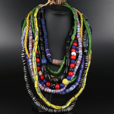 "Trade Bead Necklaces Featuring ""Watermelon"", ""Awala Chevron"" and ""Barber Pole"""