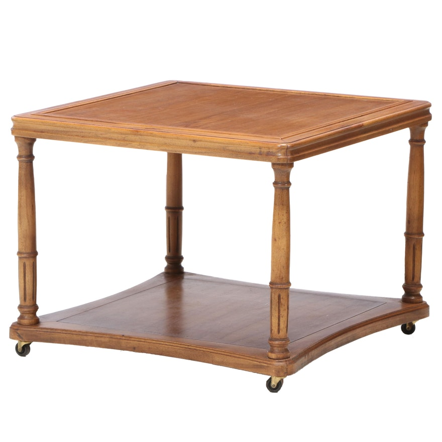 Hekman Walnut Tiered Side Table on Casters, Mid to Late 20th Century