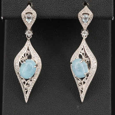 Sterling Silver Topaz, Beryl and Cubic Zirconia Earrings