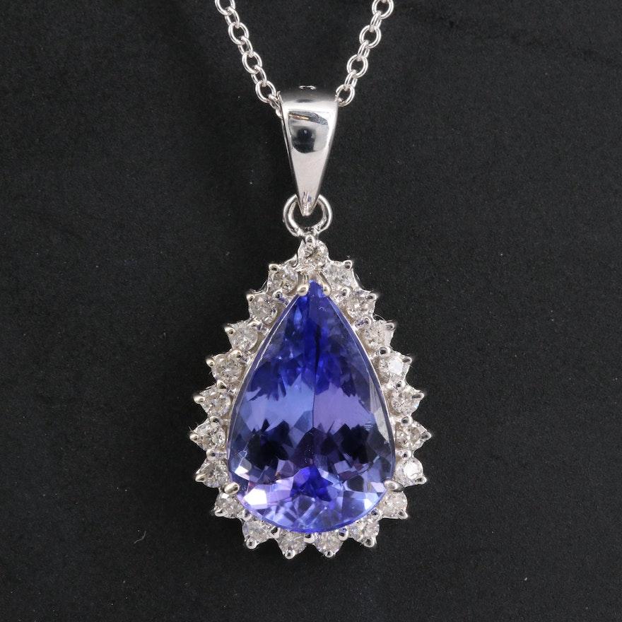 14K Tanzanite and Diamond Pendant Necklace
