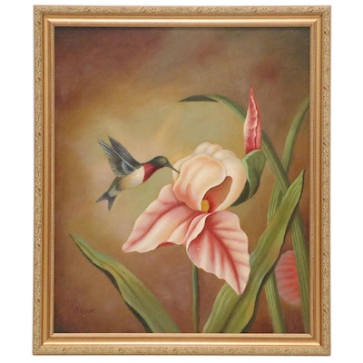 Wagner Oil Painting of Hummingbird with Iris, 21st Century