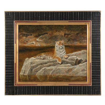 Oil Painting after Anthony Gibbs of a Tiger, circa 2000