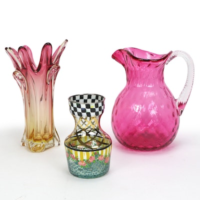 Cranberry Diamond Quilt Pitcher and Other Glass Vases Including MacKenzies-Child