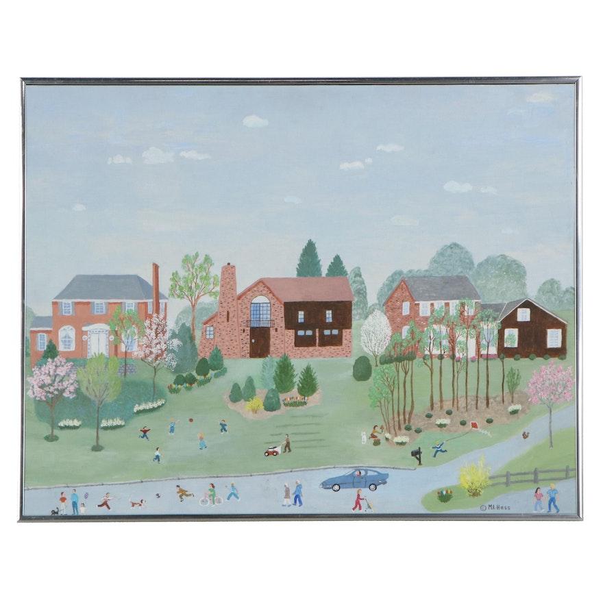 "Maria Inez Hess Folk Art Acrylic Painting ""Spring in Upper St. Clair"""