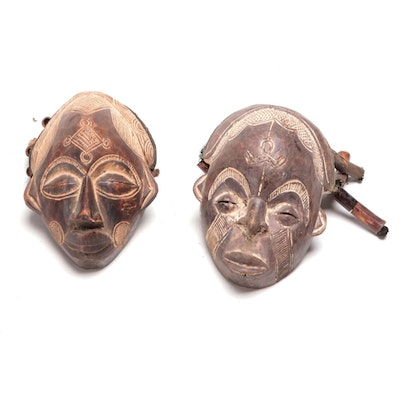 Chokwe Inspired Hand Carved Wood Masks, Central Africa