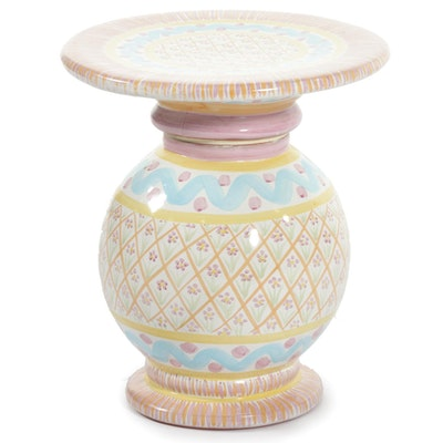 MacKenzie-Childs Hand-Painted Pastel Earthenware Side Table