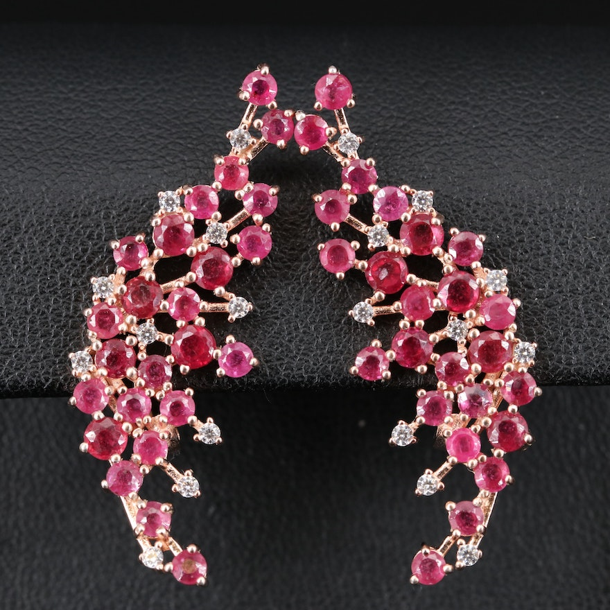 Sterling Corundum and Cubic Zirconia Earrings