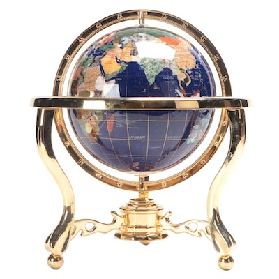 Stone Inlay Celestial Globe on Brass Stand, Includes Lapis, Abalone, MOP, More