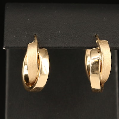 14K Crossover Hoop Earrings