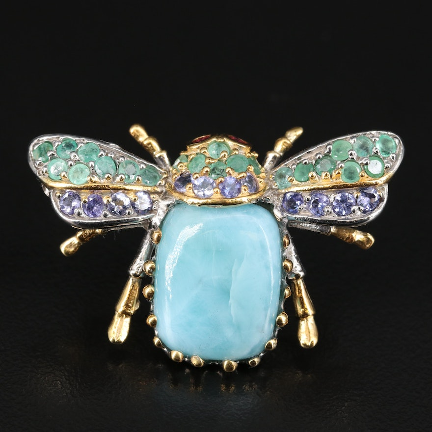 Sterling Beetle Brooch with Larimar, Beryl and Tanzanite