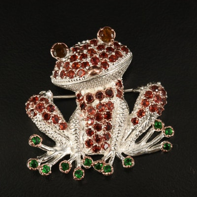 Sterling Tourmaline, Tsavorite and Garnet Frog Converter Brooch