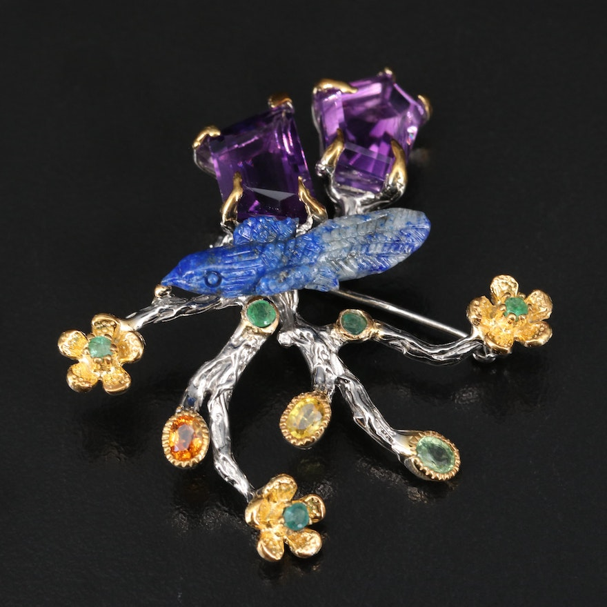 Sterling Carved Bird on Floral Brooch with Lapis Lazuli, Amethyst and Sapphire
