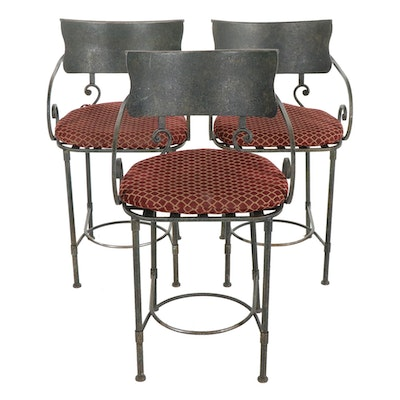 French Style Forged and Welded Metal Counter-Height Barstools