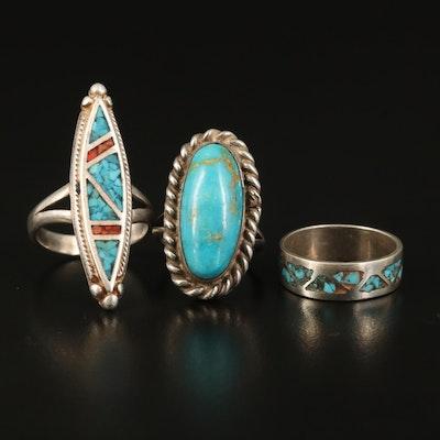 Sterling Mosaic Inlay Rings and Band