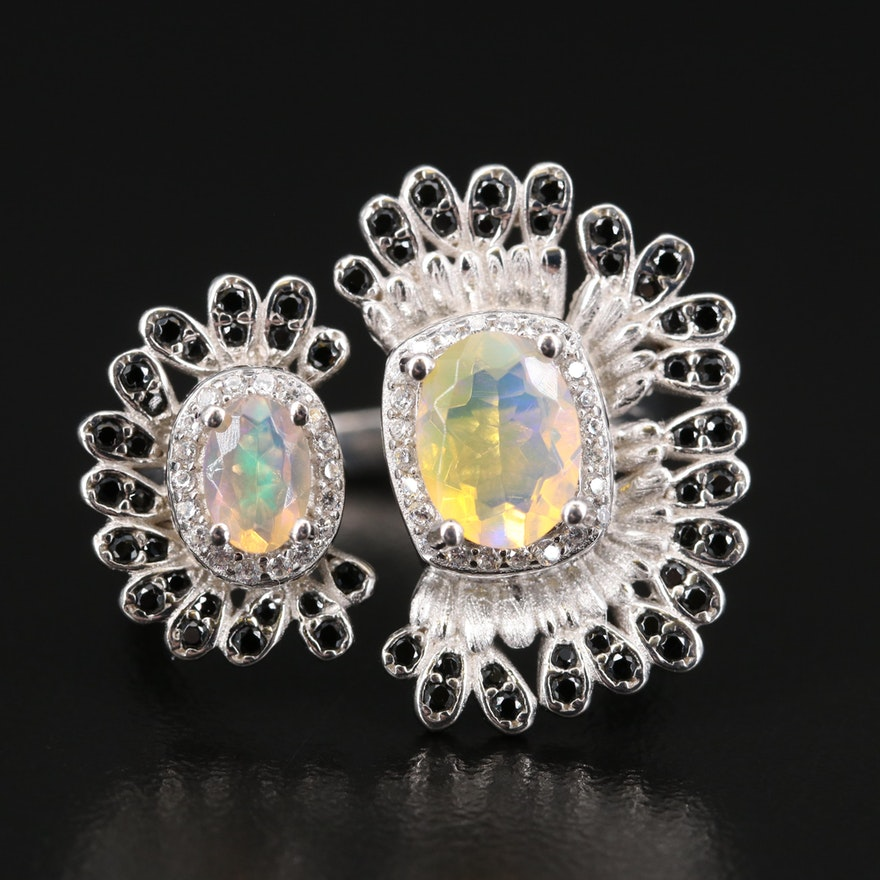 Sterling Opal, Spinel and Cubic Zirconia Open Top Ring