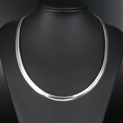 Milor Sterling Silver Reversible Omega Chain Necklace