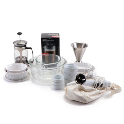 Bodum Coffee Press, KitchenAid Hand Blender, Souffle Dishes and More
