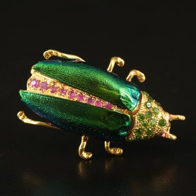 Sterling Beetle Brooch Including Beetle Elytra, Diopside and Corundum