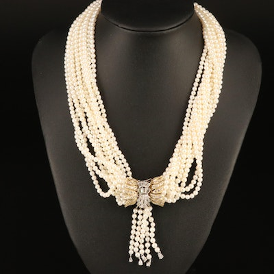 14K 4.16 CTW Diamond and Pearl Torsade Necklace