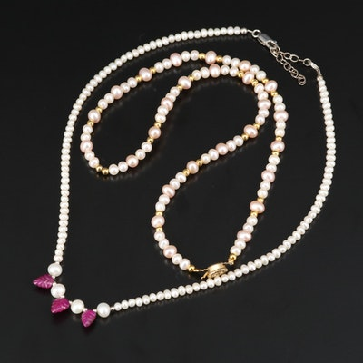 Sterling Pearl Necklaces Including Corundum Leaf Accents