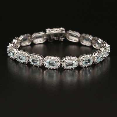 Sterling Silver Aquamarine and Diamond Link Bracelet