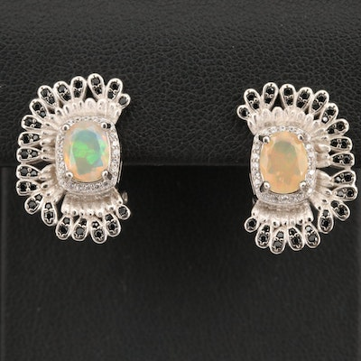 Sterling Silver Opal, Spinel and Cubic Zirconia Earrings