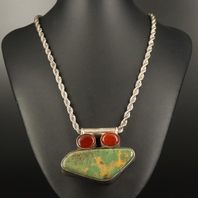 900 Silver Turquoise and Carnelian Pendant on Rope Chain Necklace