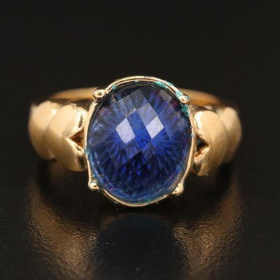 Glass Ring with Heart Shoulders