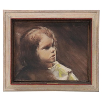 """Expressionist Style Oil Painting """"Girl in Museum,"""" 1976"""