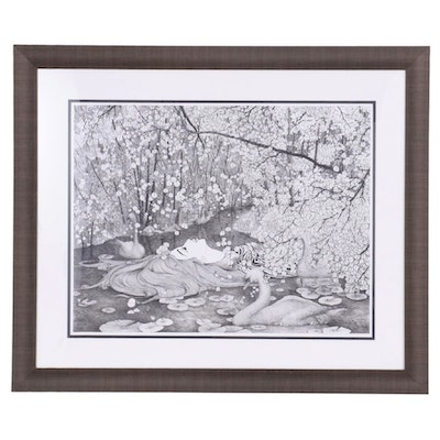 """Thuthuy Tran Ink Drawing """"Ophelia Floats Along the River,"""" 2013"""