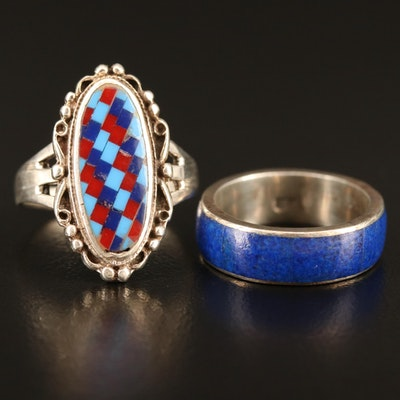 Southwestern Sterling Inlay Lapis Lazuli and Faux Stone Ring and Band
