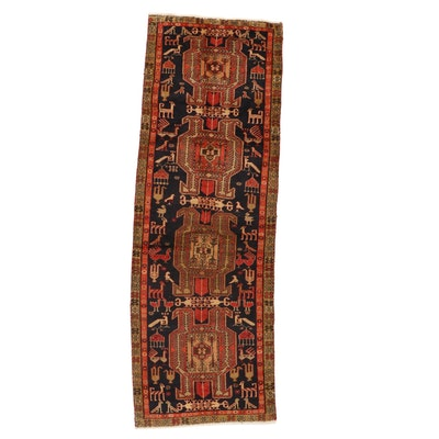 3'6 x 10'1 Hand-Knotted Northwest Persian Lenkoran Pictorial Long Rug, 1960s