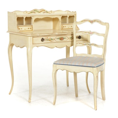 Louis XV Style Paint-Decorated Vanity Desk and Chair, Late 20th Century